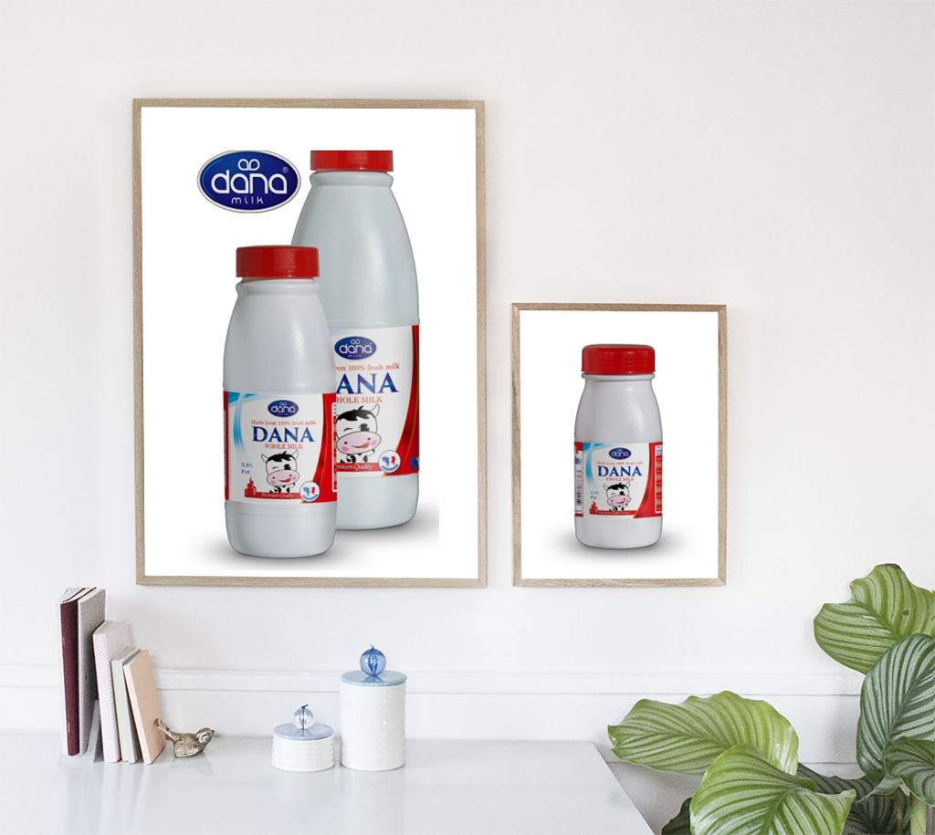 Full Cream Whole Milk Plastic Bottle UHT Milk Family Poster made with fresh cow milk