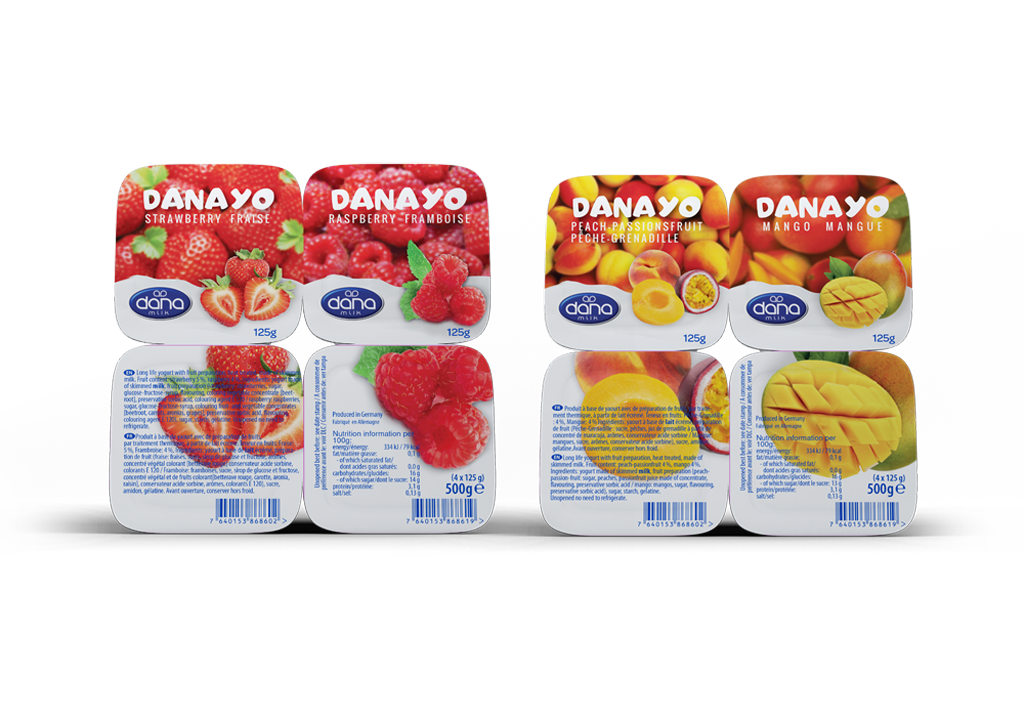 DANAYO Fruit Yogurt With Real Chunks of Fruit in two four packs