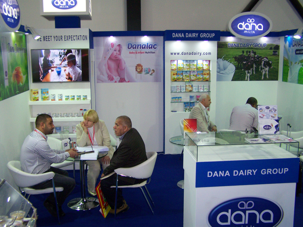 Spectators stop by Dana Stand at Gulfood 2017 in Dubai. Dana showcased its full range of dairy and milk products in this year's exhibit as well as a complete range of baby food products.