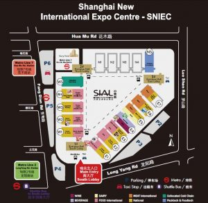The main floor plan for China SIAL Expo taking place right now in Shanghai SNIEC International Expo Center. You can see the dairy section right in the middle of the image.
