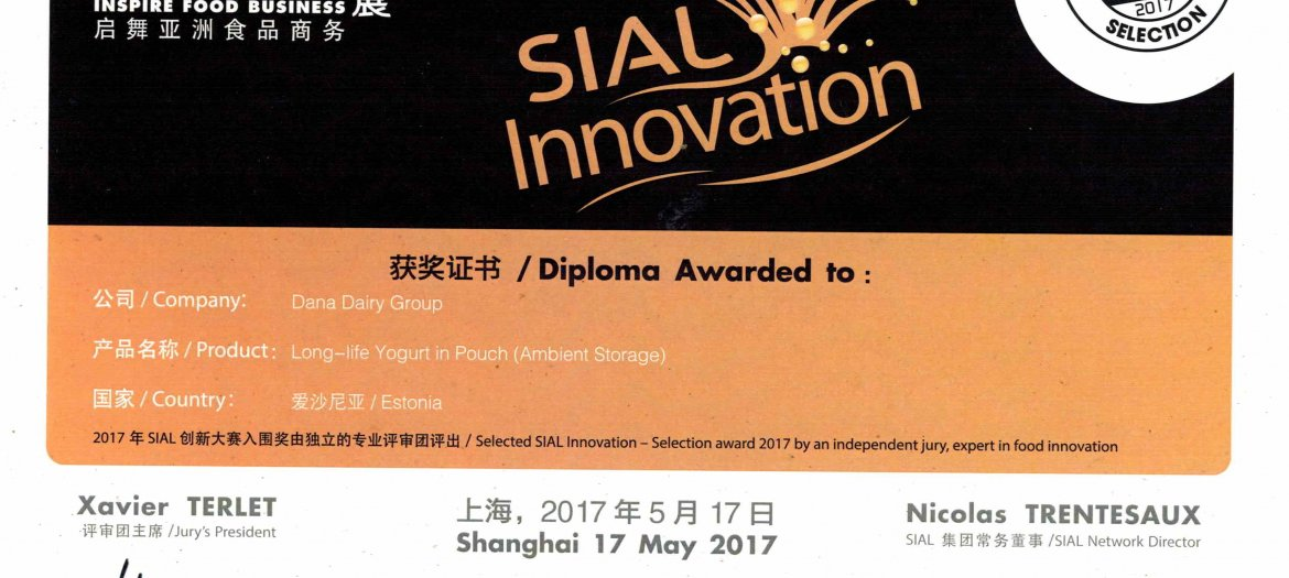 SIAL China Innovation Award 2017 Goes to Dana Dairy For Long-Life Yogurt In Pouch