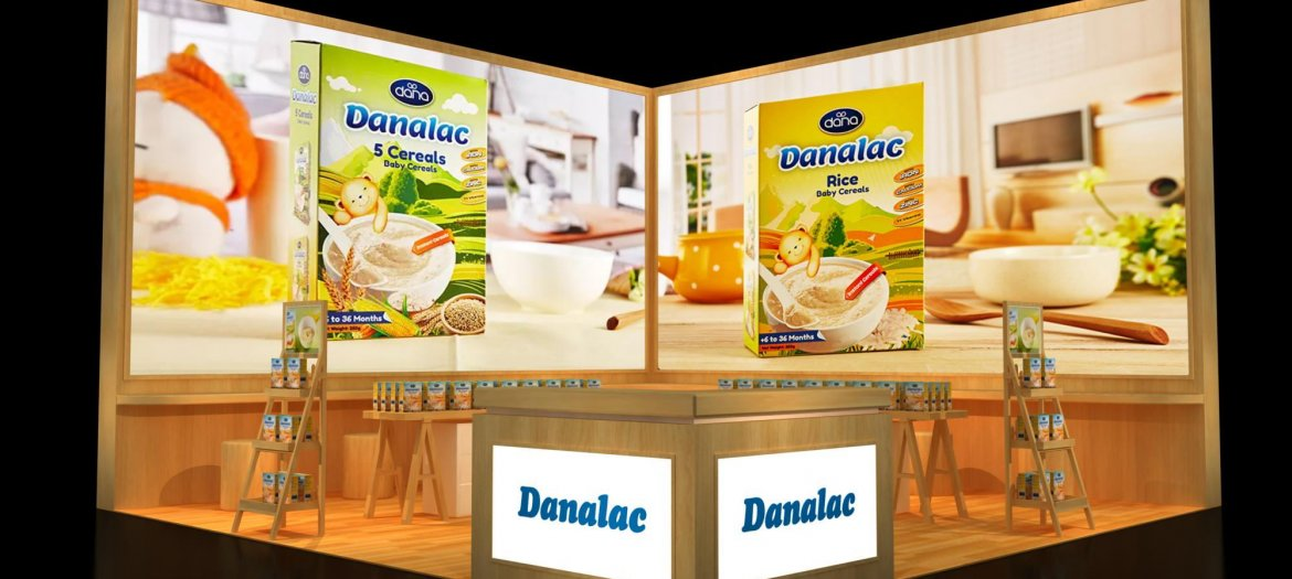 DANALAC baby cereals are being showcased at the Shanghai SIAL 2017 in China. This is a mockup of our booth at the show.