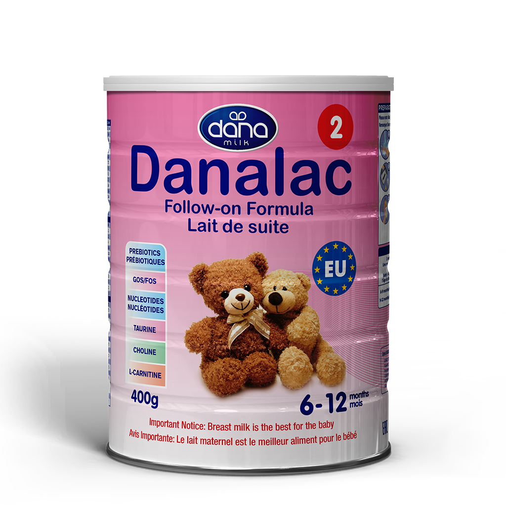 """DANALAC Stage Two Infant Formula in 400gr tins is a wonderful solution to newborn's from six months old up to one year. """"Lait de suite"""" this is the image for the product in French lettering."""