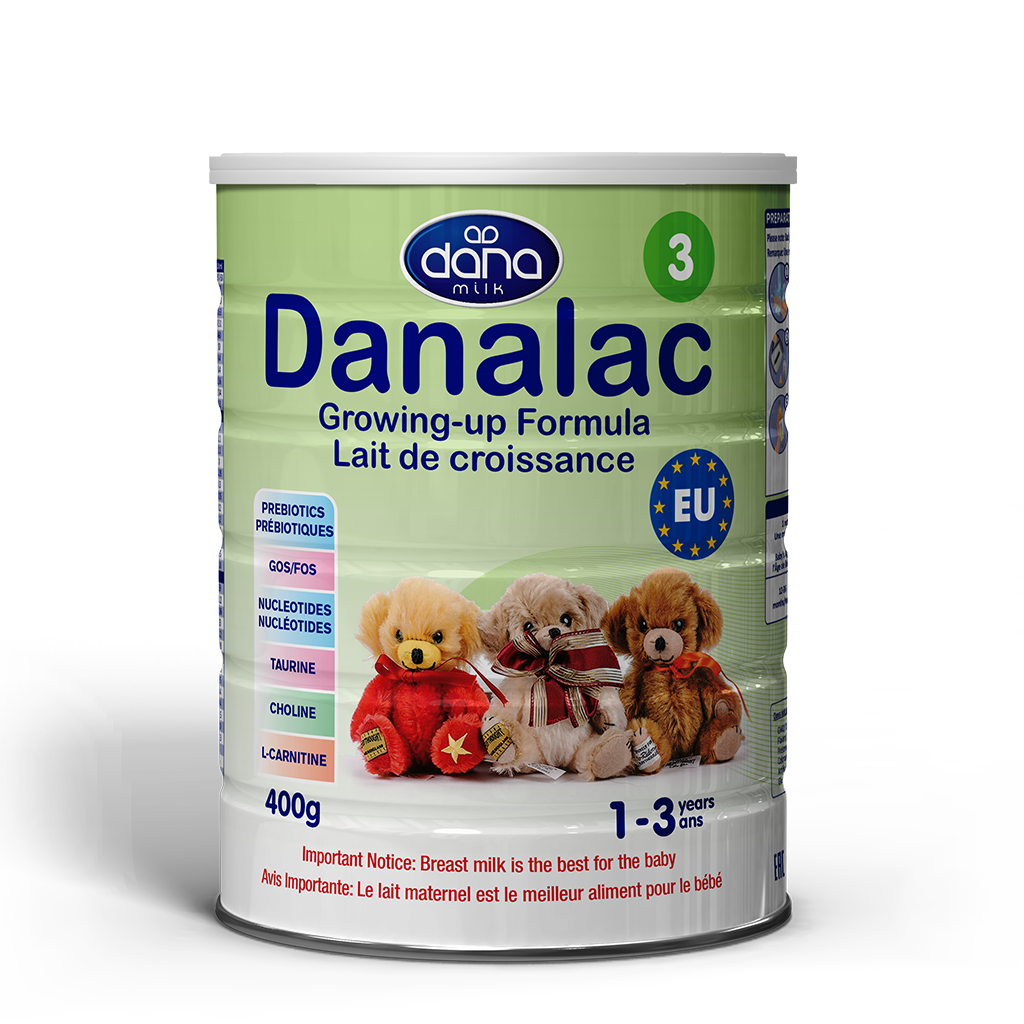 """DANALAC Stage Three Infant Formula in 400gr tins is a wonderful solution to infants from one year old to three years of age. Our growing up formula """"Croissance"""". The image for the product in French lettering."""