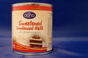 Dana Sweetened Condensed Milk in Tins in two sizes