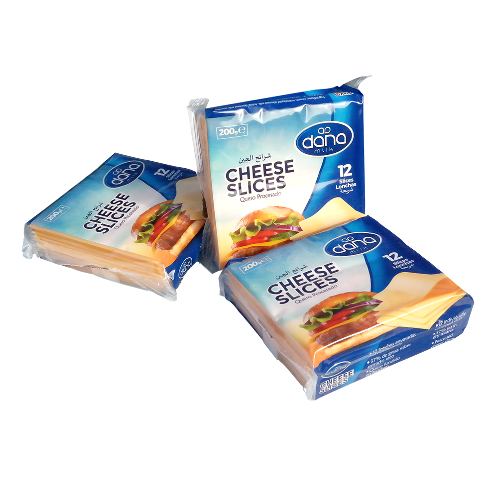 New DANA Cheddar Cheese Slices come individually wrapped in a pack of 12 and 24 packs per carton