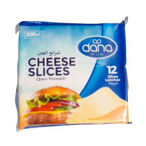 New DANA Cheddar Cheese Slices come individually wrapped in pack of 12 and 24 packs per carton