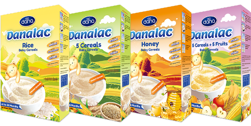 DANALAC Non Milk Baby Cereals can be added to hot water or milk of choice in five recipes
