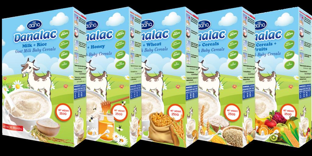 Cereales para bebé DANALAC con fórmula infantil avanzada de leche de cabra en 5 variedades