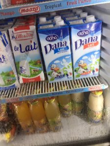 DANA beautifully designed tetrapaks on shelves in Conokry stores