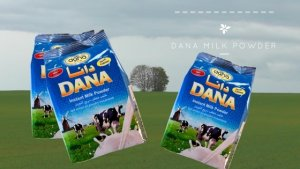 DANA Instant Full Cream Milk powder packed in easy to carry and to store family-size pouches.
