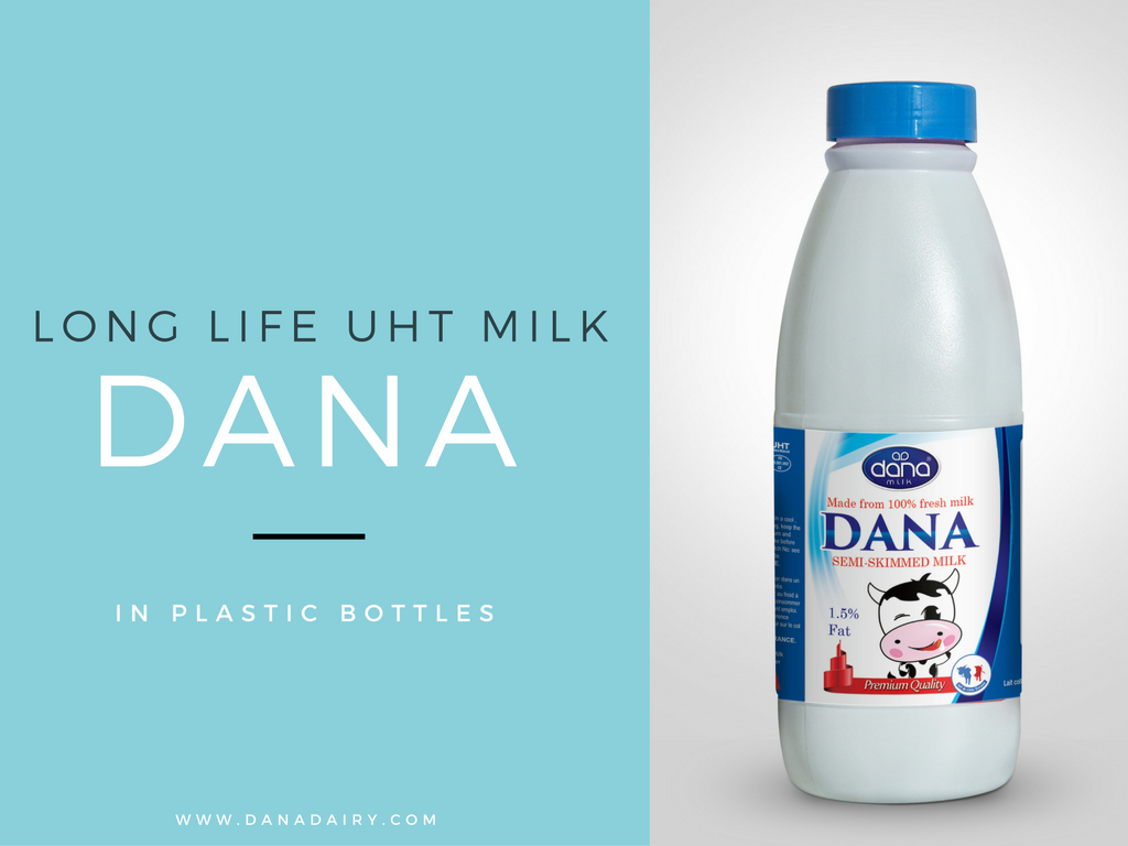 uht long life milk in plastic bottle