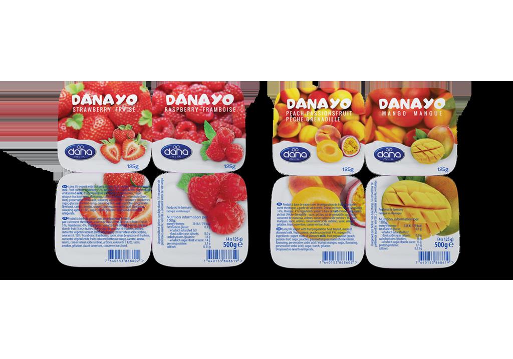 DANAYO Fruit Yogurt With Real Chunks of Fruit in two four packs