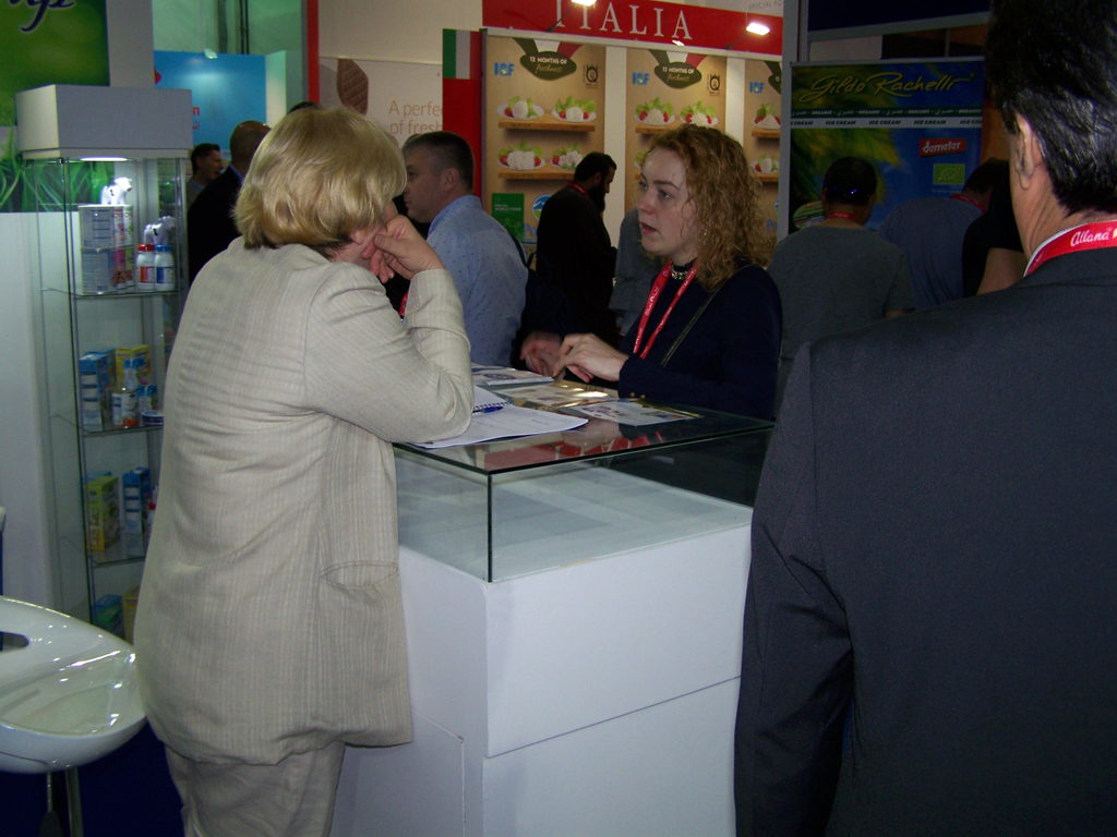 Spectators stop by Dana Stand at 2017 Gulfood Dubai. Dana showcased its full range of dairy and milk products in this year's exhibit as well as a complete range of baby food products.
