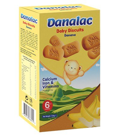 DANALAC Baby Biscuits with banana flavor is a wonderful snack for growing children of the world. The product is full of calcium, Iron, and vitamins and it is made in Europe.