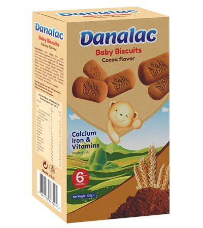 DANALAC Baby Biscuits with Cocoa flavor is a wonderful snack for growing children of the world. The product is full of calcium, Iron, and vitamins and it is made in Europe.