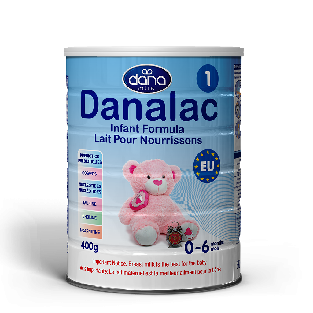 """DANALAC Stage One Infant Formula in 400gr tins is a wonderful solution to newborn's up to six months old. """"Lait pour nourrissons"""" this is the image for the product in French lettering."""
