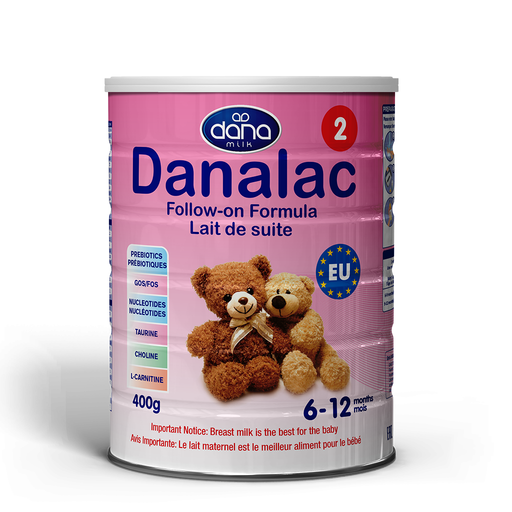 "DANALAC Stage Two Infant Formula in 400gr tins is a wonderful solution to newborn's from six months old up to one year. ""Lait de suite"" this is the image for the product in French lettering."