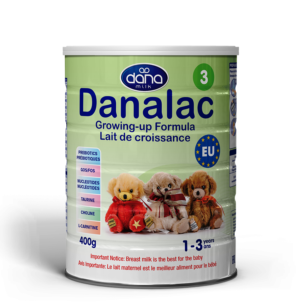 "DANALAC Stage Three Infant Formula in 400gr tins is a wonderful solution to infants from one year old to three years of age. Our growing up formula ""Croissance"". The image for the product in French lettering."