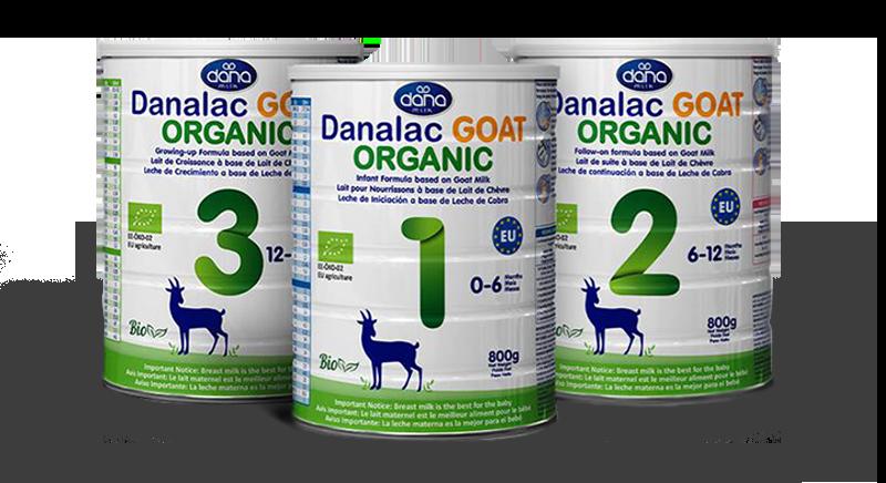 DANALAC Organic Goat Milk Baby Formula in 800 Gram Tins Stage 1 2 and 3